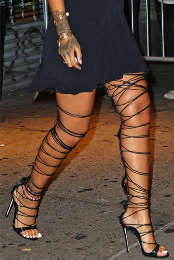 8ed361206b13 shoes girl girly girly wishlist lace up lace up heels rihanna rihanna style  over the knee.
