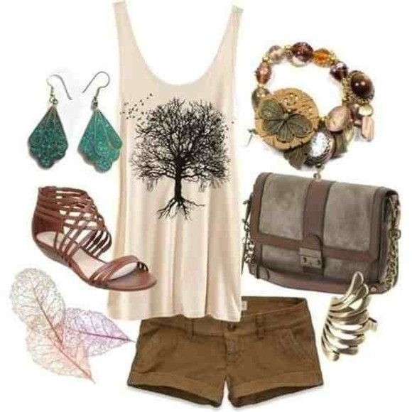 tank top tree beige blouse shirt purse bag