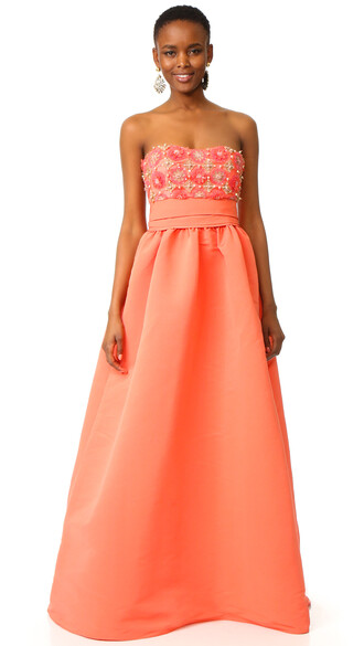 gown strapless ball coral dress