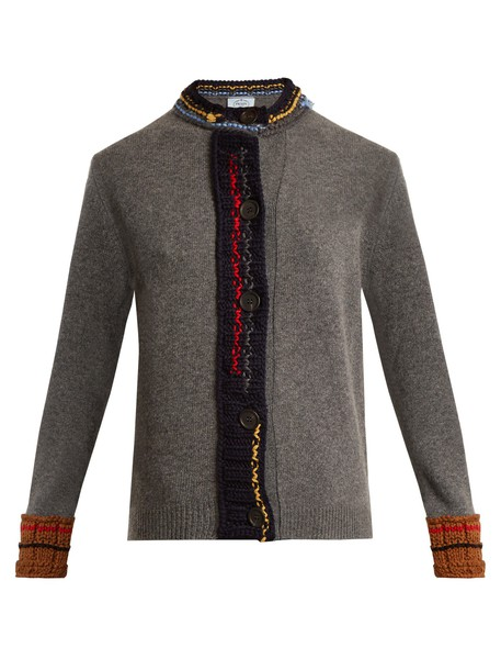 Prada cardigan cardigan wool knit grey sweater