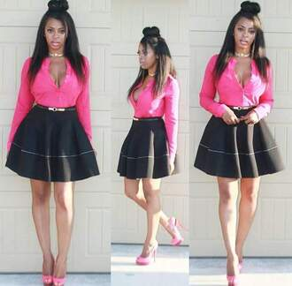 dress skirt black dress black skirt high heels heels pink heels pink blouse pink dress belt waist belt