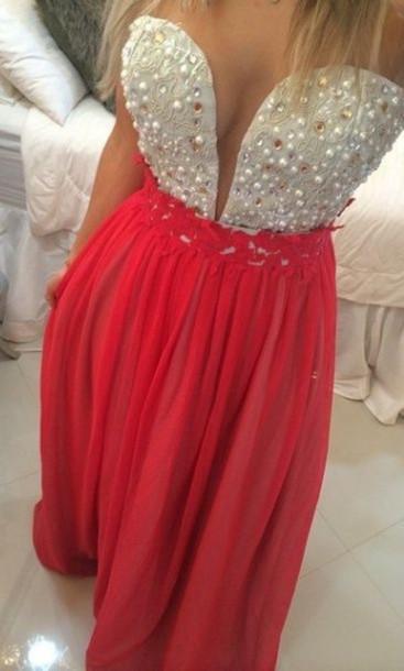 dress prom 2015 senior prom red dress orange dress pink dress pearl dress
