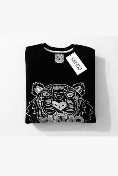 sweater black and white sweater kenzo black sweater tiger print tiger print sweatshirt