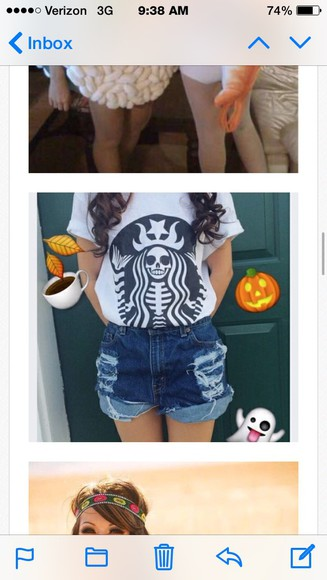 skull t-shirt starbucks t shirt
