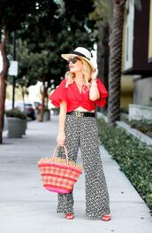 thehuntercollector,blogger,top,pants,hat,belt,bag,sunglasses,basket bag,gucci belt,sandals,red top,summer outfits