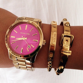 jewels watch michael kors pink hot pink rose gold gold bracelets buckles belt bracelet belt chain gold chain pretty lovely tan white stud studs time