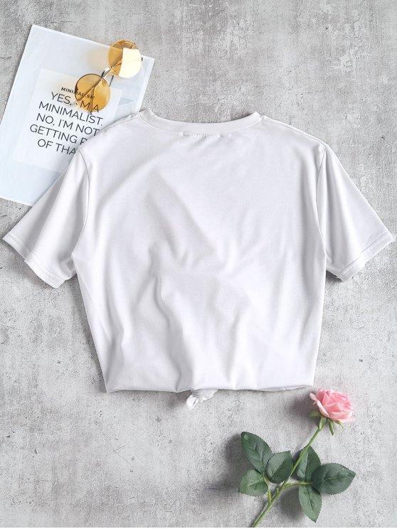 T-shirt à imprimé de slogan à col rond