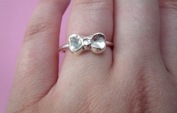 Sterling silver and fine silver bow ring by sugarcity on etsy