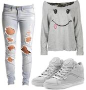 shirt,jeans,ripped jeans,sneakers,shoes,grey,sweater,long sleeves,grey top,grey shoes,off the shoulder,smiley,kicks,shredded,hipster,skater,hipster punk,top