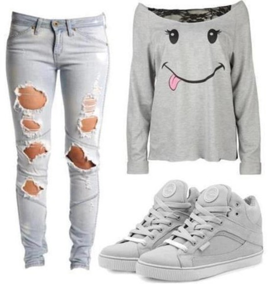 shirt smiley face lace grey long sleeve off the shoulder jeans ripped jeans sneakers shoes grey bag sweater grey top grey shoes cute