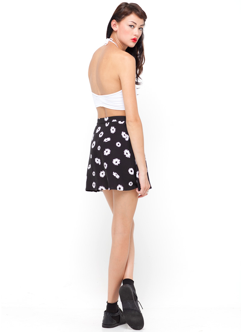 Buy Motel Andrea Button Through Mini Skirt in Black Daisy at Motel Rocks