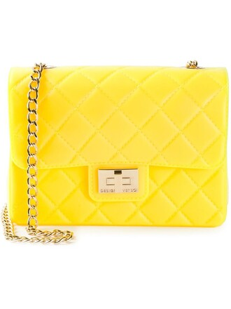 quilted bag shoulder bag yellow orange