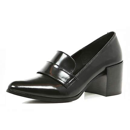 Black Block Heel Pointed Loafers Brogues