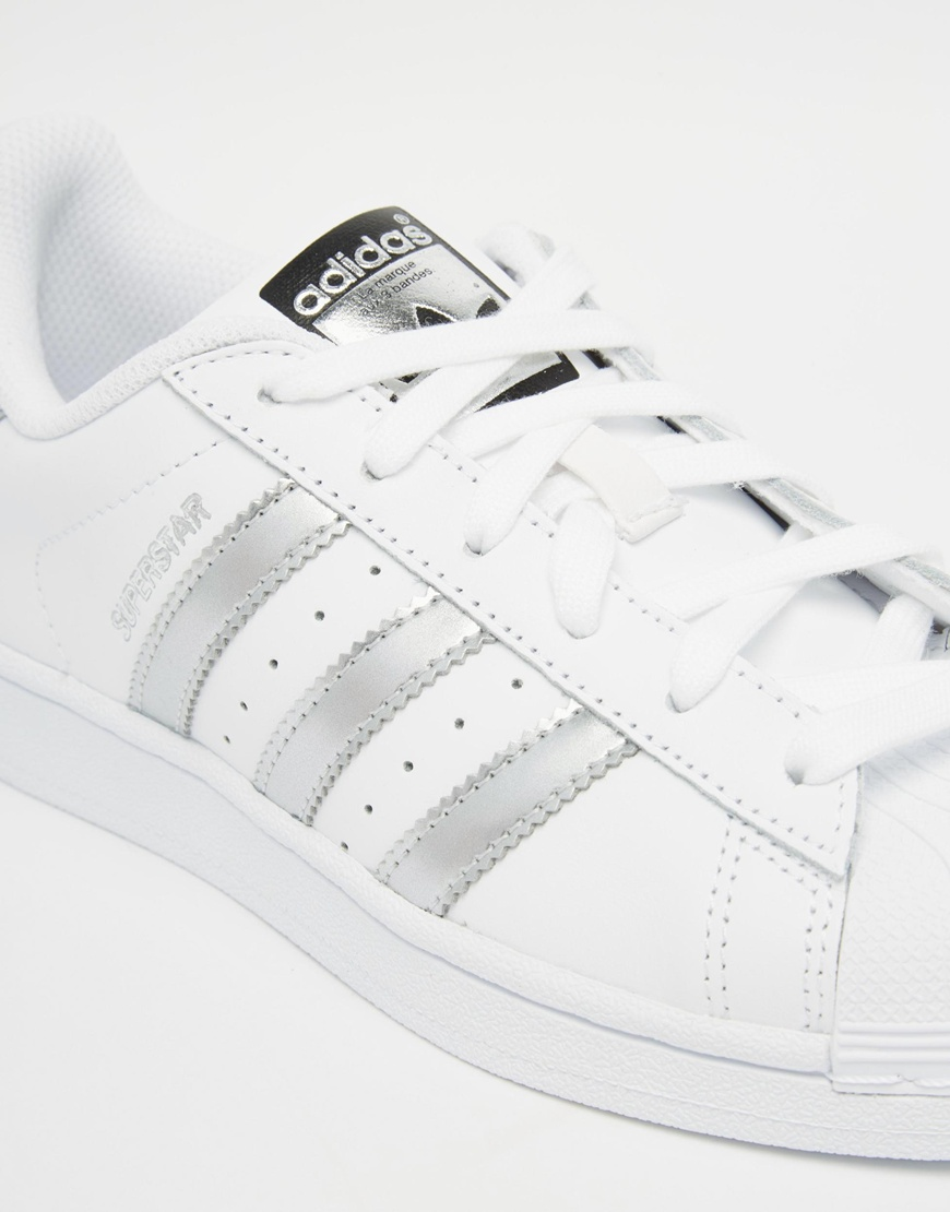 adidas originals white silver superstar trainers at. Black Bedroom Furniture Sets. Home Design Ideas
