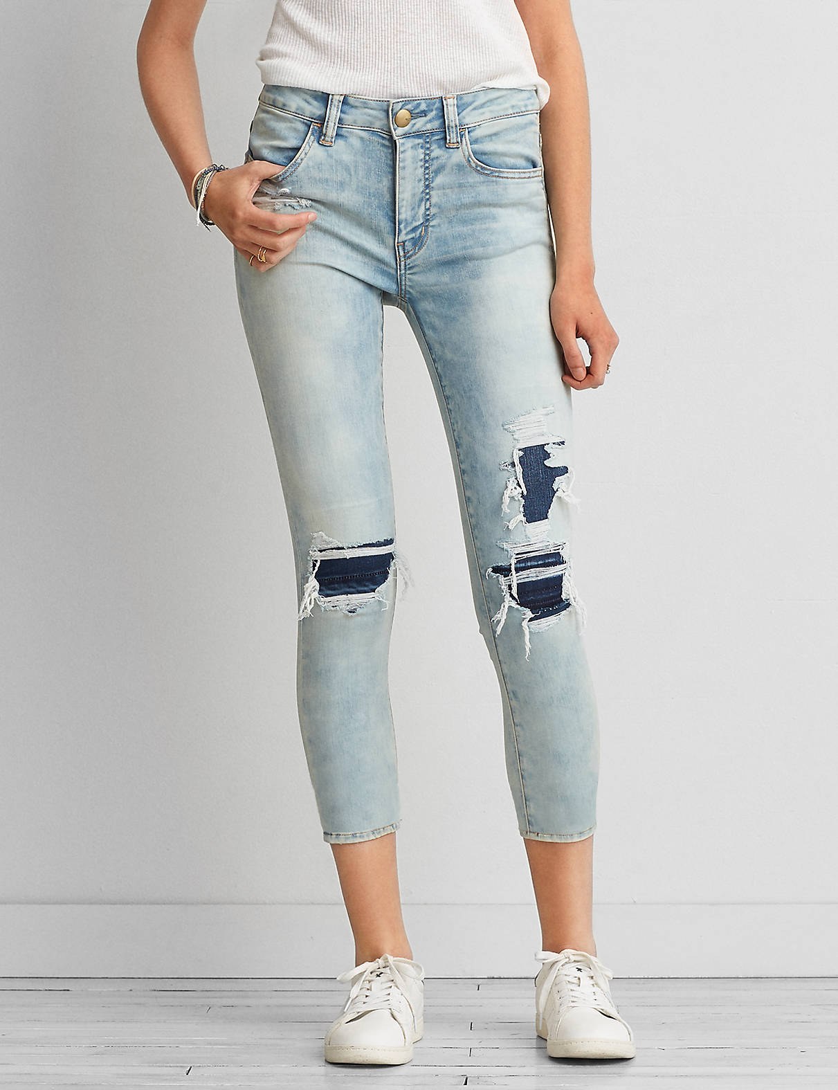 AEO Sateen X Hi-Rise Jegging Crop, Brilliant Repair | American Eagle Outfitters