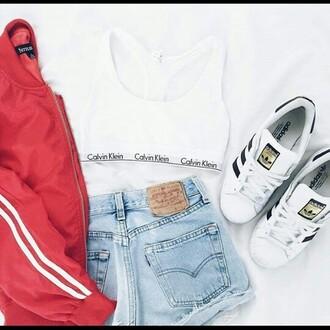 jacket calvin klein shorts superstar adidas red jeans white