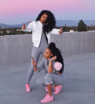 jumpsuit leggings pink sneakers bomber jacket white crop tops bun dope iphone swag shoes natural hair curly hair black girls killin it cute grey pastel nike baby pink air max hair frends style nike air max 90 pink sneakers