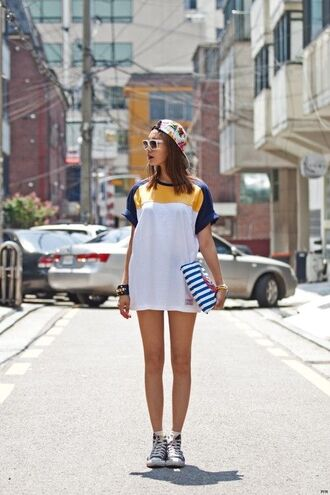 dress cute korean fashion kstyle white blue yellow oversized short sporty warm comfy nice kpop korean style streetstyle streetwear