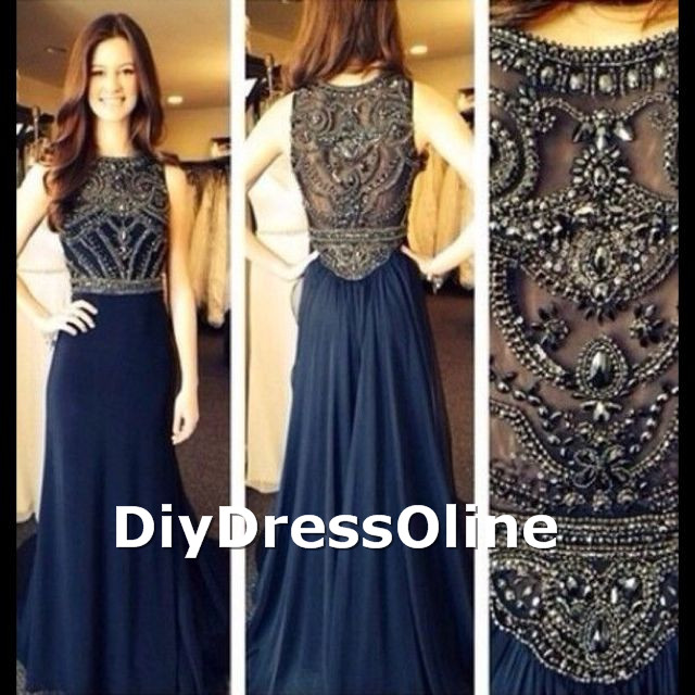 line Scoop Neck Beaded Bodice Navy Blue Chiffon Skirt Long Prom ...