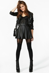 dress,outfit,black,leather,skirt,biker jacket,lace,bustier,tights,jacket,tank top,hot,dark,leather jacket,leather bag,knee high socks,coat,leggings,black dress,black leather jacket,little black dress