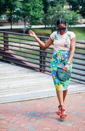 skirt,pencil skirt,floral skirt,sandals,t-shirt,printed t-shirt,handbag,basket bag,blogger,blogger style