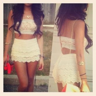 shirt crop tops bandeau crochet white cream girl brunette
