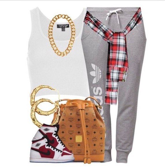 shoes chain top gold chain mcm plaid jacket