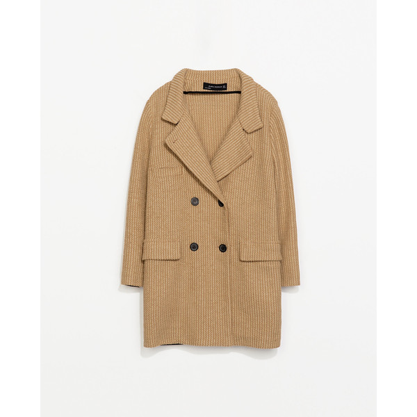 Zara Double Breasted Coat - Polyvore