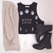 t-shirt,sweater,shoes,shorts,tank top,moon,hipster,indie,black,soft grunge,moon cycle,boots,jacket,swag,shirt,blouse,muscle tee,cardigan,High waisted shorts,moon chil,white,moonchild,top,coat,black crop top,Black studded combat boots,knitted cardigan,oversized cardigan,style,vans,moonrise kingdom,moon tshirt,phases of the moon,hippie,boho shirt,grunge,bohemian,studded shoes,combat boots,fashion,lace up,moon shirt,black top,crop tops,cute,pretty,leggings,grey,cool,beautiful,moon phases,black t-shirt