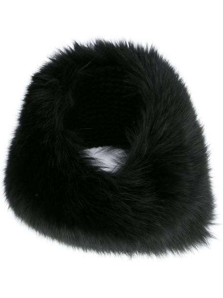 fur fox women hat black