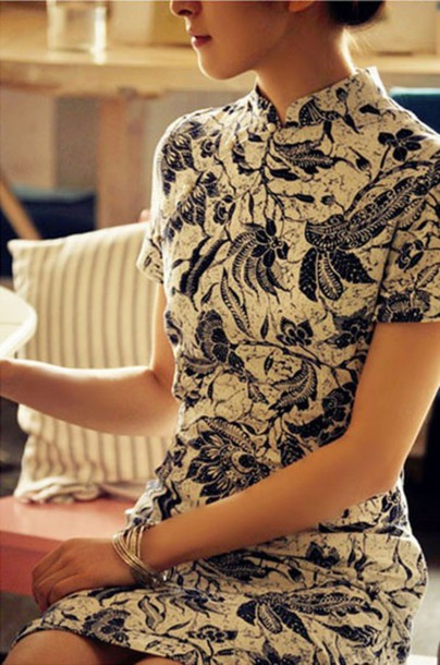 dress patterned dress floral black and white high neck short sleeve dress chinese