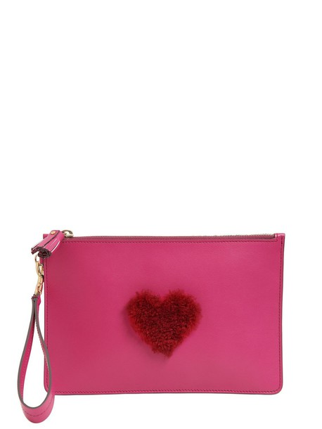 ANYA HINDMARCH Mini Shearling Heart Leather Pouch in fuchsia