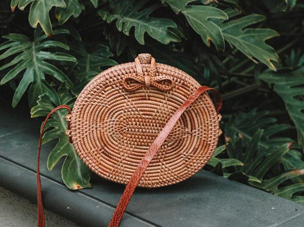 bag rattan bag circle bag oval