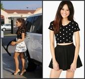 skirt,t-shirt,shirt,ariana grande,top,black,skater skirt,crop tops,black top,black crop top,black skirt,black skater skirt,mini skirt,polka dots,polka dot top