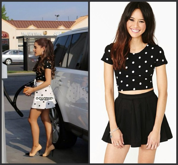 skirt t-shirt shirt ariana grande top black skater skirt crop tops black top black crop top black skirt black skater skirt mini skirt polka dots polka dot top