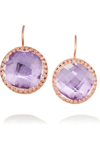 Larkspur & Hawk rose gold rose earrings gold purple jewels