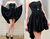 dress,black dress,high-low dresses,strapless dress,clothes,cute,black,fashion,black boobtube,short to long
