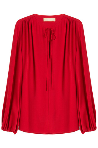 blouse draped silk red top