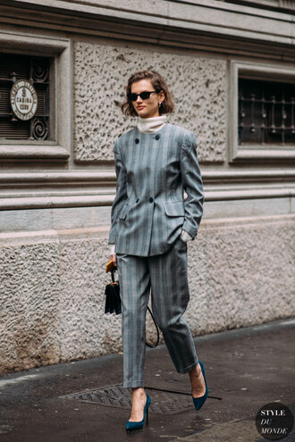 jacket blazer stripes pants grey turtleneck beige turtleneck blue shoes pointed toe pumps black bag bag handbag sunglasses costume grey costume