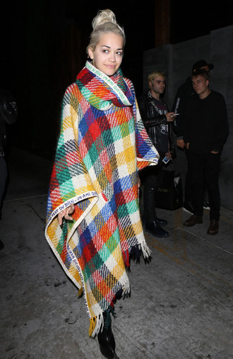 coat cape scarf rita ora colorful