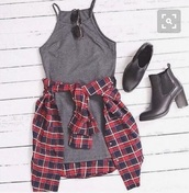 dress,grey,checked shirt,black,boots,tumblr,tumblr outfit,vintage outfit,vintage,cute,cute outfits,summer,summer outfits,grey dress,red,flannel shirt,flannel,heels,sunglasses