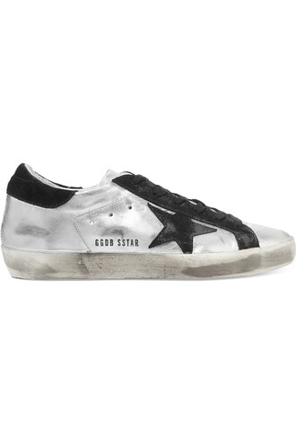 metallic sneakers leather suede silver shoes