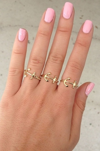 jewels ring anchor jewelry gold nails nail polish pink pretty anchor ring beautiful sea beach cute pink nail polish nice swag tumblr gold ring tumblr ring