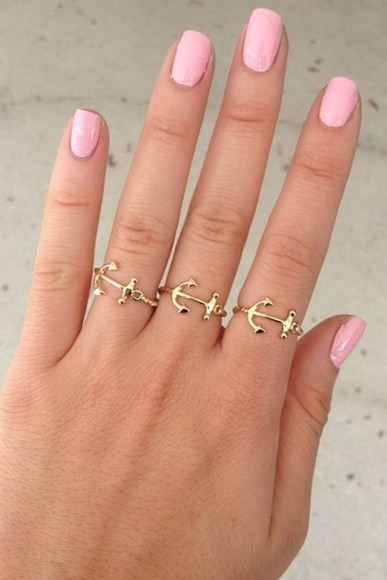 jewels anchor gold pink anchor ring beautiful sea beach cute nailpolish pink nail polish nice swag tumblr ring jewelry rings nails nail polish pretty