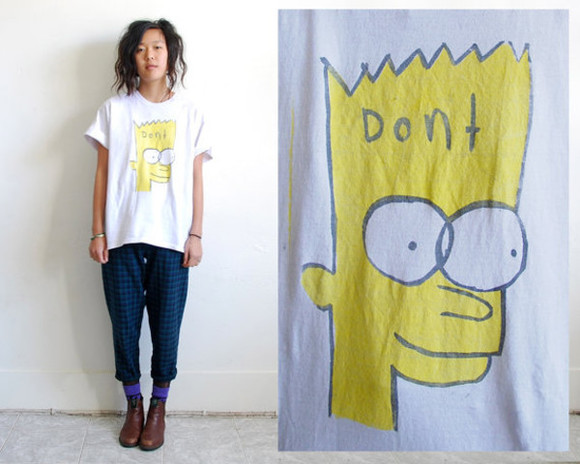 t-shirt graphic tee bart simpson white t-shirt oversized tshirt boyfriend tshirt
