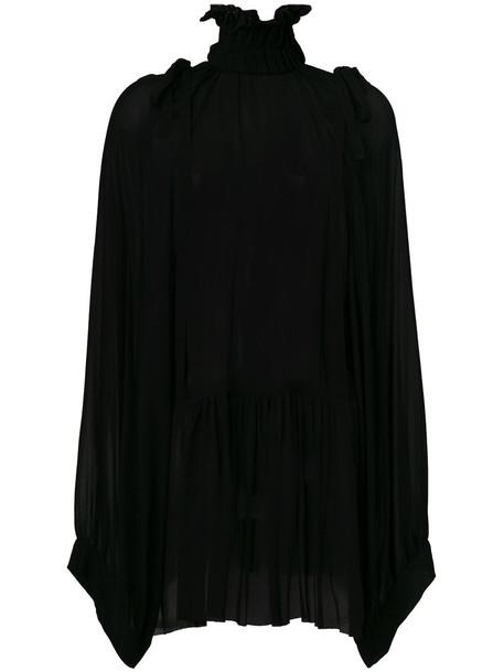 Ann Demeulemeester - high neck oversized sleeve blouse - women - Rayon - 40, Black, Rayon