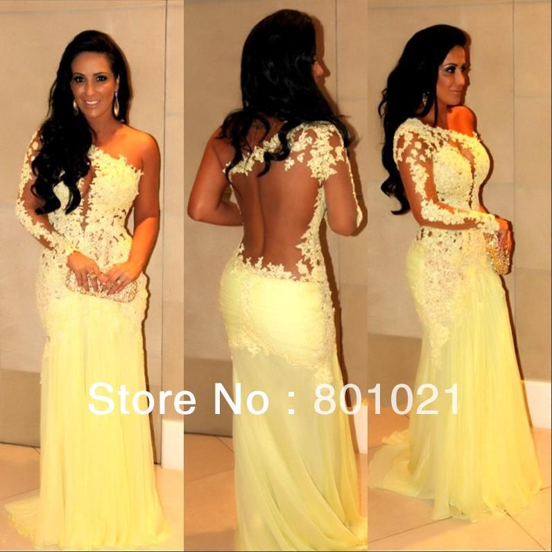 Free Shipping One Shoulder See Through Lace Yellow Mermaid Prom Evening Dress Vestidos Formales 2014-in Prom Dresses from Apparel & Accessories on Aliexpress.com