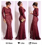 dress,wine color lace dress,burgundy dress,lace dress,sleeves,two-piece,prom dress,wine colored dress,long,maroon lace prom dress,lace,burgundy,prom,prom gown,red,long skirt,two piece dress set,red dress,long dress,long sleeves,maroon/burgundy