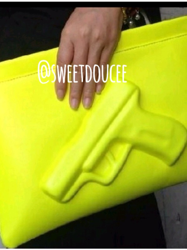 bag neon green gun chanel white pink clutch messenger bag clu streetwear clubwear tote bag neon fashion hot pants