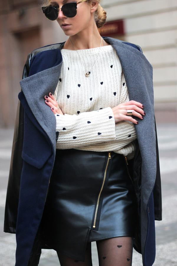 sirma markova coat sweater skirt sunglasses shoes jewels
